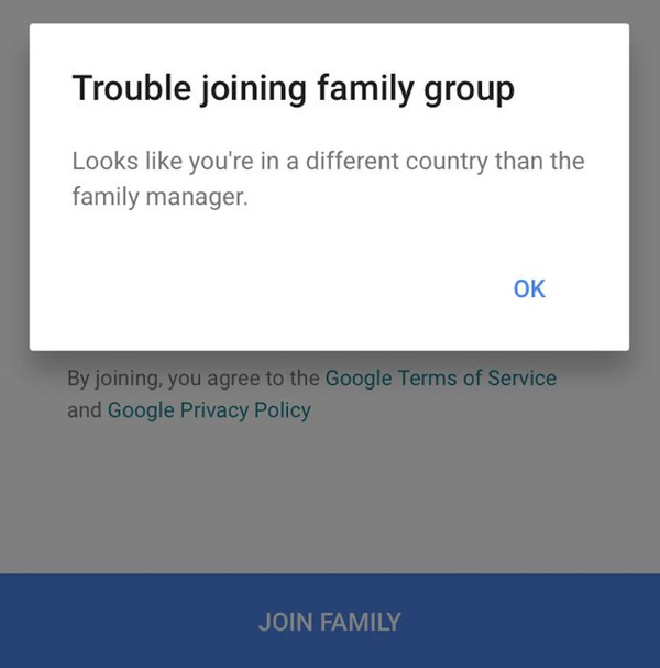 How to fix Google - looks like you're in a different country from the family manager